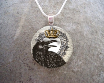 Crow Jewelry - Bird Jewellery - Glass Pendant Necklace - Raven 22