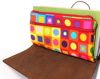 Zippered Insert for Midori Travelers Notebook, Standard Size - Colorful Geometry