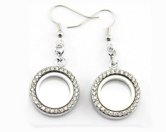 20mm Floating Locket Earrings Round Stainless Steel For Floating Charms