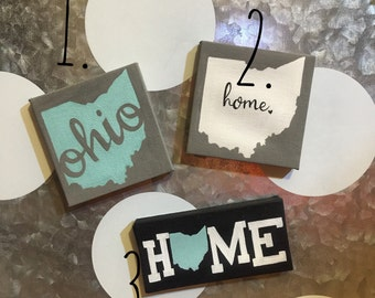 Ohio is Home. 3x3 mini wrapped canvas magnets!  Choose style 1, 2 OR 3