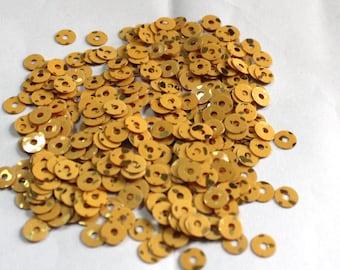 100 Mustard Color/Round Sequins / Golden dots Texture/ KRS655