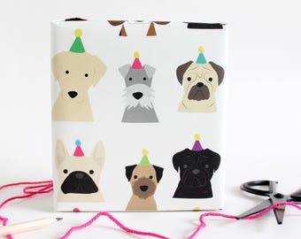 Birthday Dog wrapping paper/ birthday gift wrap / puppy / schnauzer / labrador / pug / sausage dog / border terrier / French bulldog /