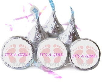 Tiny Toes Its A Girl Pink Baby Shower Favors, Gender Reveal Party Ideas, Baby Girl Shower Favors, Candy Stickers
