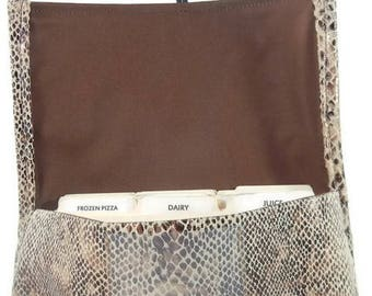 Coupon Organizer Holder,Faux Snakeskin Ultrasuede Fabric, Ready to Ship