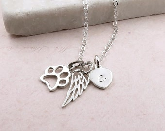 Personalised Pet Loss Necklace - sterling silver, paw print, wing, initial, remembrance necklace