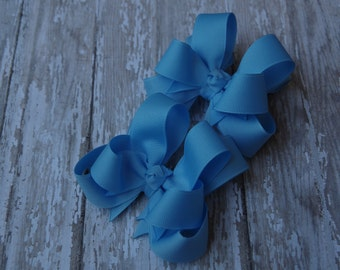 "Girls Hair Bows Blue Boutique 3"" Double Layer Hairbows Set of 2 Pigtail Bows"