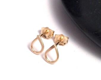 Gold Teardrop Stud Earrings | Tiny Stud Earrings | Goldfilled Post Earrings | Bridesmaid Earrings | Jewellery UK