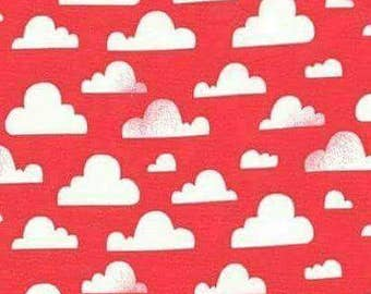 Clouds fabric - coral
