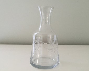 Vintage Etched Wine Decanter Waters Carafe Etched Clear Glass Vase