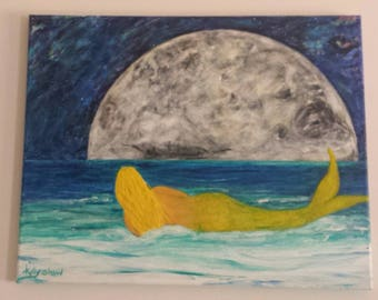 Mermaid painting, seascape, beach art, mermaid, moon art, mermaid, fantasy, acrylic, acrylic painting, Lapan, wave art, wave