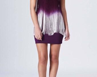 Purple Gem Embellished Gradient Purple To White Fringe Bodycon Strapless Bandeau Dress