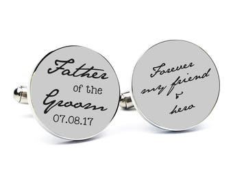 Personalized Cufflinks Engraved Cufflinks Round Cufflinks Cuff link Gifts for Him Father of the Groom Gift Father of the Groom Cufflinks 6