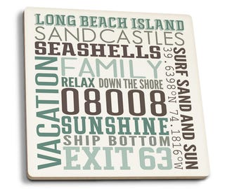 Long Beach Island NJ Typography (#4) - LP Artwork (Set of 4 Ceramic Coasters)