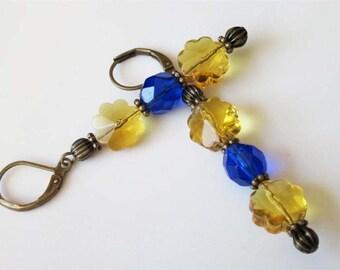 Bohemian Glass Earrings, Glass Flower Earrings, Crystal Flowers, Cobalt Blue, Amber Beaded Glass Jewelry, Victorian Dangle, Brass Leverback