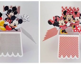 Mickey Mouse Minnie Mouse 3D Pop Up Personalised Greeting Card hand crafted Birthday Gift handmade