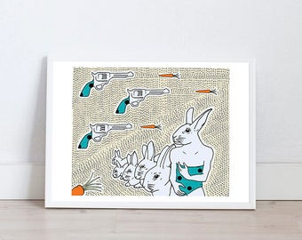 Illustration print by Marta Fofi, rabbit print, art print, wall art, illustration, illustration print, poster, dorm decor