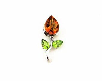 14K white Gold Natural Citrine,Peridot Rose Bud Flower Pendant