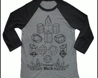 Unisex CRYSTAL MATH 3/4 Length Sleeve Vintage Style Baseball T-shirt Minerology