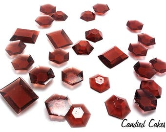 BROWN EDIBLE SUGAR Jewels - Cupcake Toppers, Candy or Dessert Table, Wedding Cake Decorations, Edible Gems