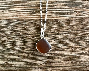 Sea glass necklace, sea glass jewelry, seaglass necklace, coffee lover, seaglass pendant, gift for her, sea glass pendant, Mother's Day