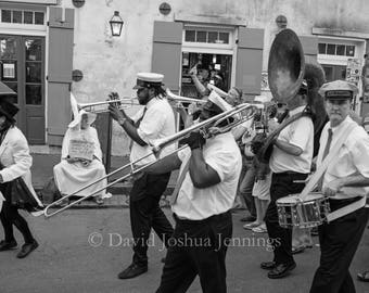 Bourbon Street Second Line - New Orleans 2016 - Fine Art Photograph - Bourbon Street - Street Photography - Black and White - French Quarter