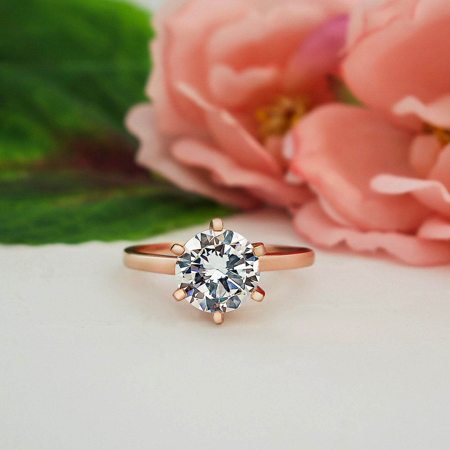 diamond engagement ring lab puregemsjewels created product classic tiffany cut prong round rings style