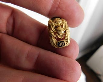 Vintage Gold Tone US Army Seal 30 Year Hat Pin dr4
