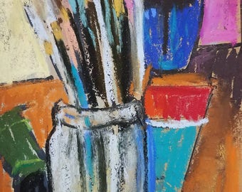 Original pastel drawing studio tableaux paints brushes vase with flowers bright colors 5x7inches