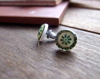Mexican jewelry, Mexican Talavera tile, Miniature Post Earrings, Southwestern earrings, green earrings, folk art jewelry