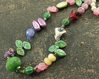 Garden Necklace One of a Kind Multi Colored Long Knotted Necklace Unique Bohemian Jewelry Gardener's Gift