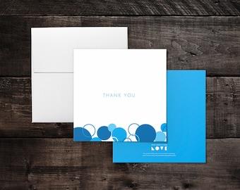 Thank You Card - Blue Circles