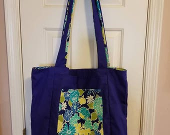 Giant Blue Flower Reversible Cloth Tote Bag