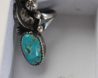 Vintage Sterling, Coral and Turquoise Ring Tooth Bezel Set Cabochon