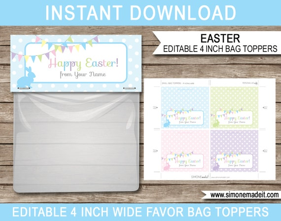 Easter gift bag toppers printable easter tags easter gift negle Images