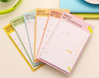 2 Pcs Weekly & Daily Schedule memo pad,