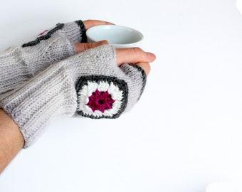 Handmade Gloves, Arm Warmers, Autumn Trend, Winter Fashion, Hand knit Fingerless Gloves, Arm Mittens, Ligth Grey, Crochet motif // Gloveshop
