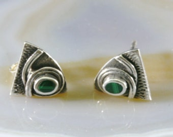 Stud earrings 925 sterling silver and malachite  --  4287