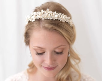 Pearl Bridal Tiara, Pearl Wedding Tiara, Freshwater Pearl Wedding Crown, Pearl Bridal Crown, Floral Crown, Flower Crown,Bride Tiara ~TI-3306