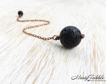 Black Crystal Pendulum, Dowsing Tool, Lava Stone Pendulum, Reiki Healing, Divination Stone, Intuition, Fortune Telling, Scrying Stone, Wicca