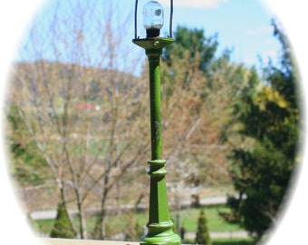 SALE Antique Victorian Green Railroad Lamp Light Post Pole LIONEL number 56 or Steampunk Finding