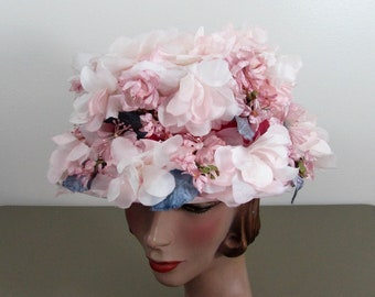 1960s Pink Flower Bucket Hat by Valerie Modes -Velvet Band - Garden Party - Church Hat