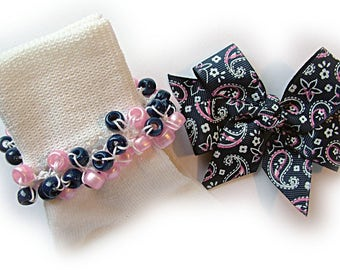 Kathy's Beaded Socks - Navy and Pink Bandana Socks and Hairbow, girls socks, pony bead socks, school socks, navy socks, pink socks