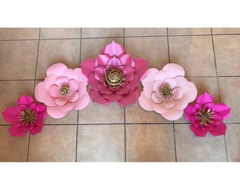 Big Paper Flowers| Set of 5 Pink Paper Flowers| Giant Paper Flowers| Different Shades of Pink