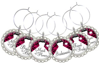 Set of 6 - PERSONALIZED WINE CHARMS - Bridal Party Damask- Perfect For  Bachelorette Party Favors, Wedding Favor, and Parties