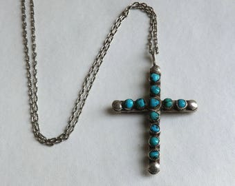 Vintage Turquoise and Coral Southwest Silver Cross Double Sided 11 Stones Each Side