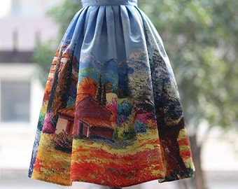 Fine Art collection vintage style dress like Audrey Hepburn one Fine day in countryside gorgeous puffy skirt/short skirt