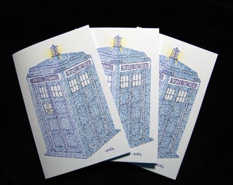 TARDIS/Doctor Who Micrography Greeting Card: Blank Inside