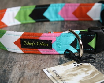 "Green Pink Orange Black White and Turquoise Chevron Dog Collar ""The Chevron"" Custom Dog Collar"