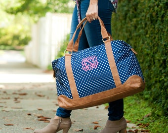 Monogrammed Weekender Bag, Monogrammed Overnight Bag,  Monogrammed Weekend Tote, Charlie Dot Weekender, Polka Dot Luggage