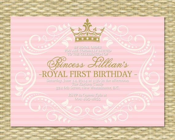Princess First Birthday Invitation Royal Baby Girl Shower - Royal birthday invitation template